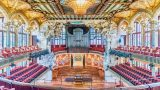 BARCELONA - AUGUST 8: Interior of Palau de la Musica Catalana, modernist Concert Hall designed by the architect Lluis Domenech i Montaner in Barcelona, Catalonia, Spain, on August 8, 2017